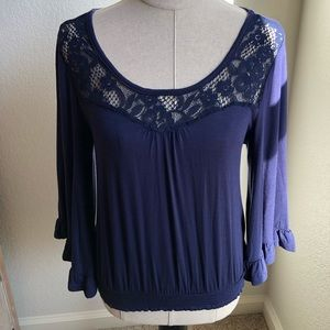 Navy Blue Cotton Blouse w/ Bell Sleeves